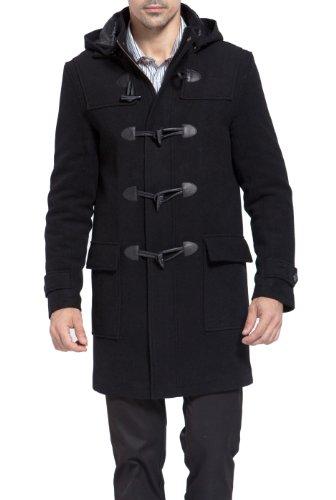 BGSD Herren Duffle Mantel Gr. M, Schwarz - Schwarz (Hooded Toggle Wool)