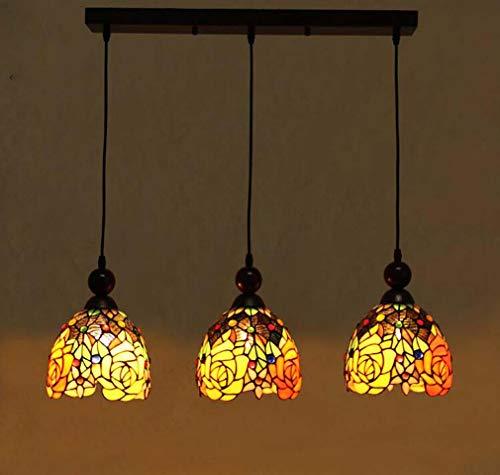 Klassische 3-köpfige Tiffany-Stil Kronleuchter Licht, Rosenmuster Glasmalerei Schatten Anhänger Beleuchtung für Restaurant Küche Insel Decke Hängelampe -