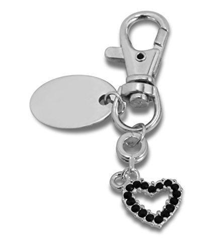 personnalisé gravé / Personnalisé NOIR Porte-clé Cœur dans un Pochette cadeau - PL82