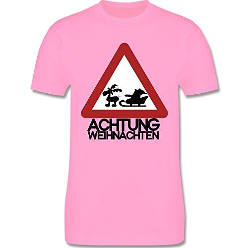 Weihnachten - Achtung Weihnachten - L190 Herren Premium Rundhals T-Shirt Rosa