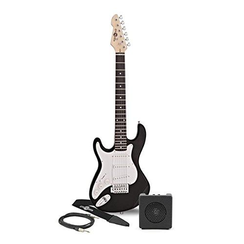 Guitarra Eléctrica LA 3/4 Zurda + Mini Amplificador - Negro