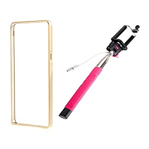 Dual Tone Circular Arc Shaped Metal Bumper Case Cover For SAMSUNG GALAXY E5 With Hotpink Color Selfie Stick