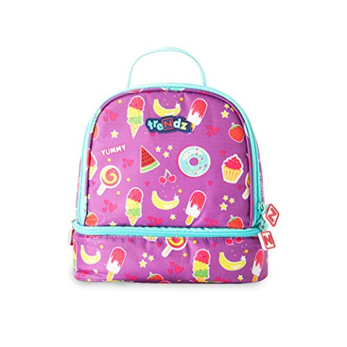Nuby Trendz # MEGA Bytes Double Decker Insulated Lunch Bag, Treats Schulranzen, 21 cm, Violett (Purple, Multicoloured) -
