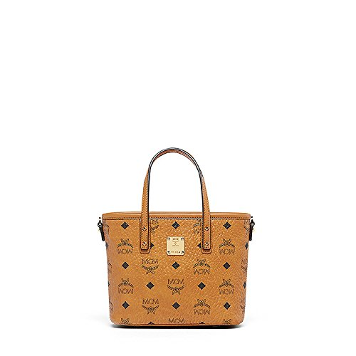 MCM Damen Umhängetasche Top Zip Shopper Anya Mini Cognac (Zip Mini Top Mini Tasche)