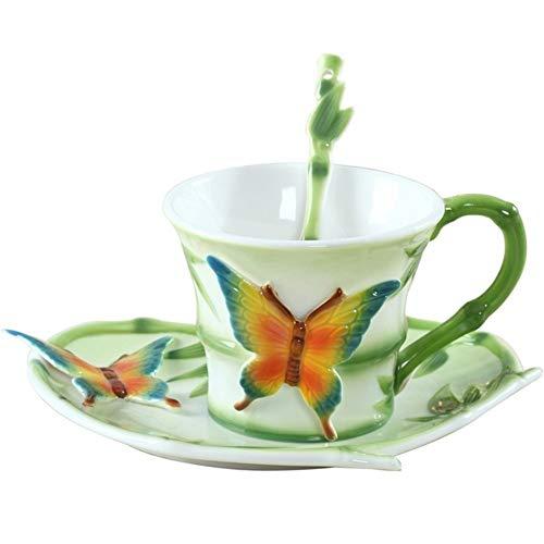 7°mr bicchiere di vino farfalla smaltata in porcellana caffè tazza da tè e piattino cucchiaio decorazione acqua di tè in ceramica drinkware regalo di san valentino amico