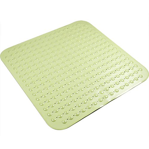 Weiche Duschmatte 80 x 80 cm für Duschzimmer, Anti-Fungal Saugnapf Fußmatte Anti-Rutsch-Duscheinlage mit Saugnäpfen, Badewannenmatte Antibakteriell maschinenwaschbar Wannenmatte, grün, Einheitsgröße