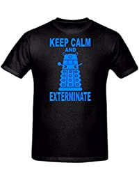 CHILDRENS KEEP CALM & EXTERMINATE FUNNY NOVELTY T SHIRT, 5-15YRS (7-8 YEARS (128CM) CHEST, BLACK)