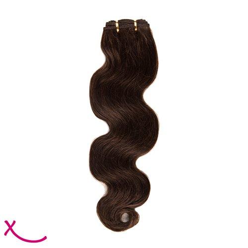 Extiff - Tissage naturel cheveux humain - Ondulé 40 cm 16 pouces (1b - Brun Chocolat)