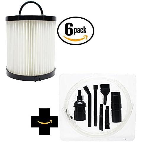 6-pack sostituzione filtro aspirapolvere Eureka asm1156Tazza con 7Micro–Kit di fissaggio, compatibile Eureka dcf-21Filtro
