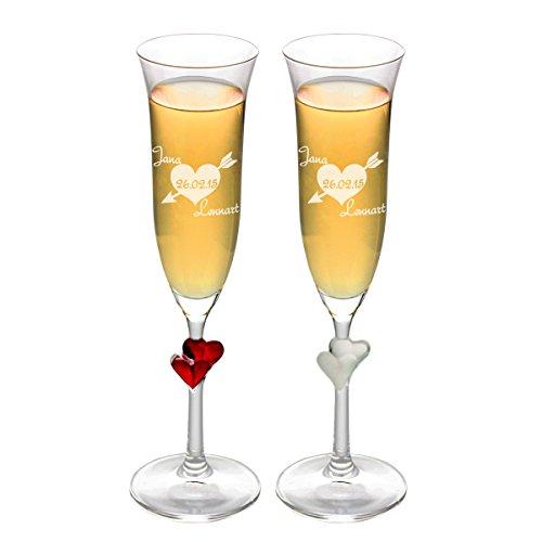 Dekoratives Sektglas Pfeilherz mit Gravur mit Weißen Herzen am Stiel - Tolles romantisches Geschenk für Frauen + Freundin