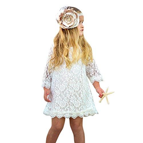 Baby Kleidung LMMVP Kinderkleider Mädchen Kleider Langarm Spitze Kleid Herbst langes Hülsen Blumendruck Kleid Party Kleid Langarm Herbst Kleider Baumwolle Kleid (12Monat-4Jahr) (Weiß, 110 (3Jahr))