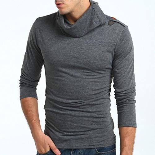 Paolian T-Shirt de Bouton de klaxon à col Haut de Couleur Unie, élégant à la Mode Autocollant pour Homme Automne/Hiver