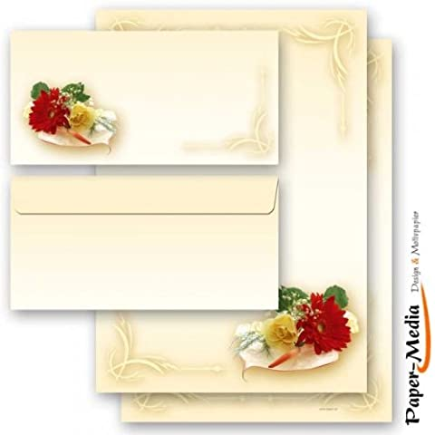 Betz–Set di 20Carta da fiori bouquet 10fogli e 10buste formato DL lungo, senza finestra
