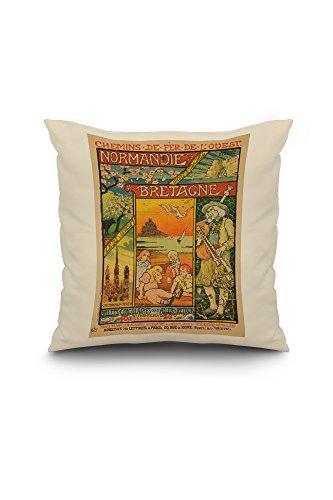 Normandie - Bretagne Vintage Poster (artist: Berthon) France c. 1897 (18x18 Spun Polyester Pillow Case, White Border)