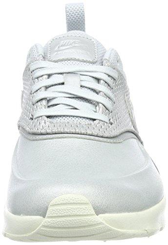 Nike Air Max Thea Premium En Cuir, Baskets Basses Pour Femme Argent (platine Métallisée / Platine Pure)