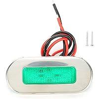 Luces interiores, luz de señal marina de 12 V, luz de señal LED marina de acero inoxidable, indicador de navegación impermeable para barco, yate(Verde)