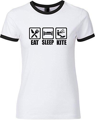 EZYshirt® Eat Sleep Kite Damen Rundhals Ringer T-Shirt Weiss/Schwarz/Schwarz