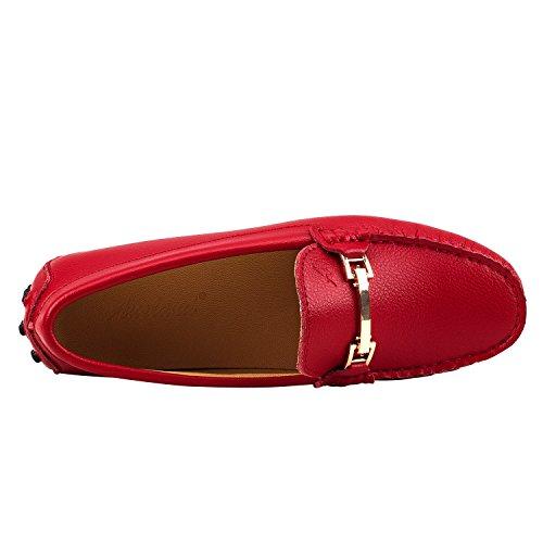Shenduo Scarpe Donna - Mocassini Donna di Pelle Liscia, Loafers Scarpe Casual D7067 Rosso