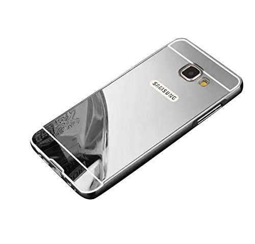 Minto Luxus Aluminium Metall Spiegelhülle Schutzhülle + Panzerglasfolie iPhone 5 / 5S / SE Spiegel PC Rückseite Case Cover Hülle Gold + Metall Bumper Rahmen Echtglas Hartglas Schutzfolie 9H Silber -a5(2016)