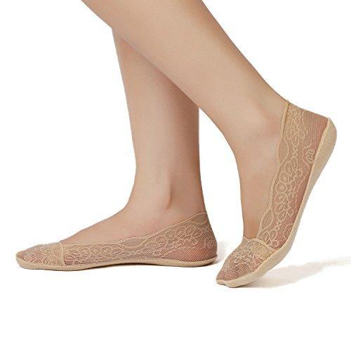 JARSEEN Damen Füßlinge Spitze Unsichtbare Ballerina Socken mit Rutschfest Silikon(4Paar ein Pack)...
