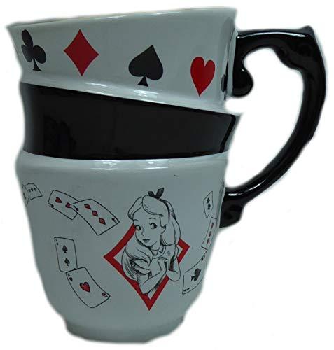 Alice im Wunderland Disney Porzellan Tasse Stapeltasse Sammeltasse weiß 3-Fach -