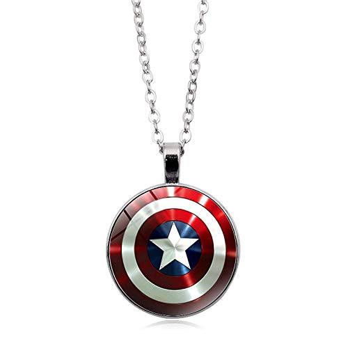 DADATU Shield Necklaces for Women Men Marvel The Avengers 4 Endgame Pendant Necklace Glass Dome Jewelry Accessories -