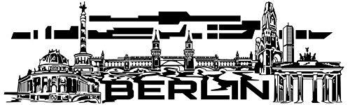 Wandtattoo Skyline Berlin XXL Text Stadt Wand Auto Aufkleber Wandsticker Wandaufkleber Deko sticker Wohnzimmer 1M609, Skyline Größe:Länge 280cm