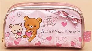 Trousse à crayons San-X rose métallique avec les ours Rilakkuma, coeurs et noeud