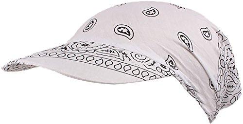 Ababalaya Frauen SPF 50+ UV-Schutz Muslim Islamischen Blumendruck Breiter Rand Visoren Hut Kopftuch (1-Weiß)
