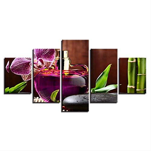 Rahmen Modulare Poster Leinwand 5 Stücke Parfüm Stein Blume Bambus Malerei Wandkunst Dekor Für Wohnzimmer Moderne Hd-Druck Bild B1997 -