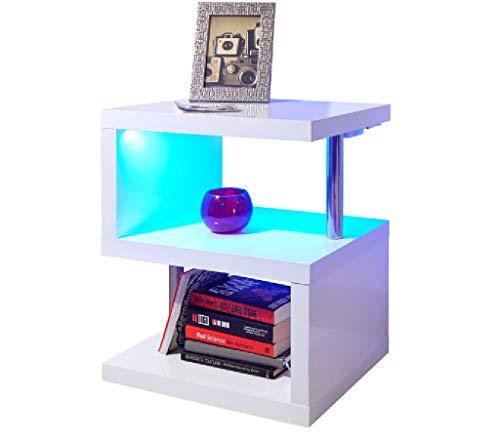 Mobile laccato in bianco polare con LED - tavolino da caffè e ...