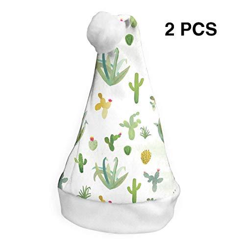 Kaktus Kinder Kostüm - Weihnachtsmannmütze, Kaktus, Aquarell, für Erwachsene, Kinder, Kostüm, Weihnachtsdekoration, Partyzubehör (2 Stück)