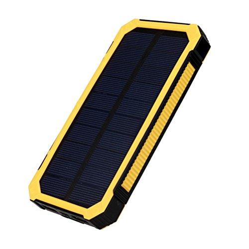 Happy Event Tragbare externe 20000mAh Dual USB Solar Akku Ladegerät Power Bank für Telefon (Gelb)