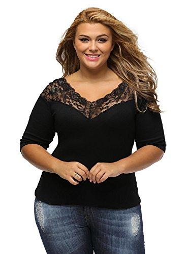 Exlura Damen Groß Größe Schulterfreie Spitzen Bluse oberteil V-Ausschnitt (Schwarz Top V-ausschnitt Sexy Spitze)