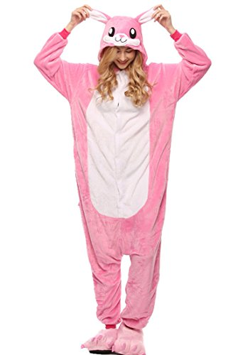 Cosplay Cartoon Kostüm - URVIP Neu Unisex Festliche Anzug Flanell Pyjamas Trickfilm Jumpsuit Tier Cartoon Fasching Halloween Kostüm Sleepsuit Party Cosplay Pyjama Schlafanzug Rosa Häschen Medium