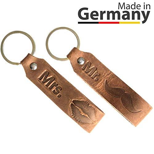 ANKERPUNKT portachiavi con incisione Mr. & Mrs. coppia in pelle amore regali anniversario matrimonio fatto a mano in Germania marrone scuro usato look