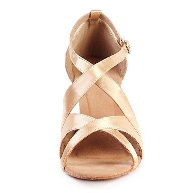 Scarpe da ballo-Personalizzabile-Da donna-Balli latino-americani-Basso-Raso-Dorato champagne