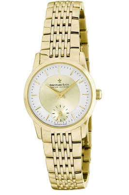 Dreyfuss and Co DLB00002-03 Ladies Sapphire Glass Two-toned Dial Gold PVD SS Bracelet Watch
