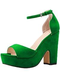 WanYang Sandalias de Cuna de Decoradas Mujer Señoras de las Bombas de los Zapatos de las Cuñas de Tacón