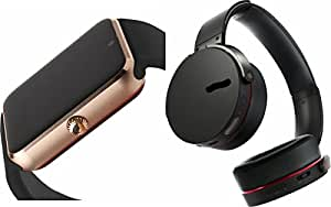 MIRZA GT08 Smart Watch & Extra Bass XB650 Bluetooth Headphones for PANASONIC T33(Extra Bass XB 650 Headphones & GT08 Smart Watch Wrist Watch Phone with Camera & SIM Card Support Hot Fashion New Arrival Best Selling Premium Quality Lowest Price with Apps like Facebook,Whatsapp, Twitter, Sports, Health, Pedometer, Sedentary Remind & Sleep Monitoring, Better Display, Loud Speaker, Microphone, Touch Screen, Multi-Language, Compatible with Android iOS Mobile Tablet-Assorted Color)