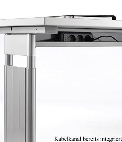 Gera Möbel C Fuß Flex Schreibtisch, Holzdekor, lichtgrau/Silber, 180 x 80 x 72 cm -