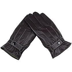 RETUROM Invierno hombre de la moda de cuero de lujo de Super conducción guantes calientes de la cachemira (Café)