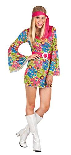 ,Karneval Klamotten' Hippie Kleid Kostüm Damen Flower-Power Kostüm Damen Peace Kleid Blumenmuster inkl. Stirnband Damen-Kostüm Größe 40/42 (Halloween-kostüm Hippie)