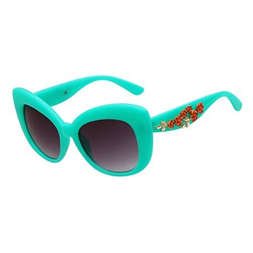 ADEWU prugna fiore decorativo spessore telaio occhiali verde Aqua