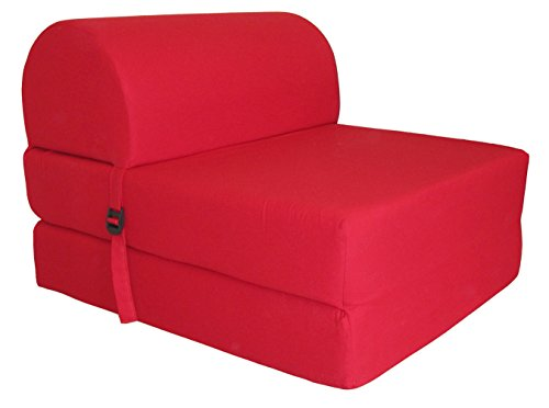 Chauffeuse convertible Tissu Rouge 75 x 58 x 48 cm