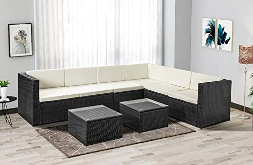 Merax Outdoor Gartenmöbel Lounge Set Poly Rattan Sitzgruppe Couch-Set Ecksofa Garnitur Set für 6 Personen, 3 Ecksofa, 2 Tisch mit Glasplatte, inkl. Sitzauflagen & Rückenkissen