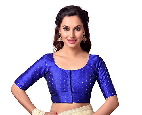 Studio Shringaar Women's Polyester Stitched Saree Blouse (Royal Blue, 36)