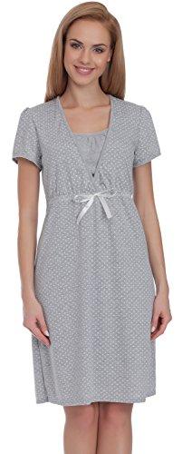 Italian Fashion IF Damen Umstandskleidung Stillnachthemd Joy 0114 (Melange, S) (Nachthemd Falten)