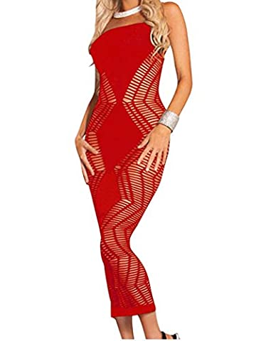 Bling-Bling Womens Red Zig Zag Shred Seamless Long Dress One Size