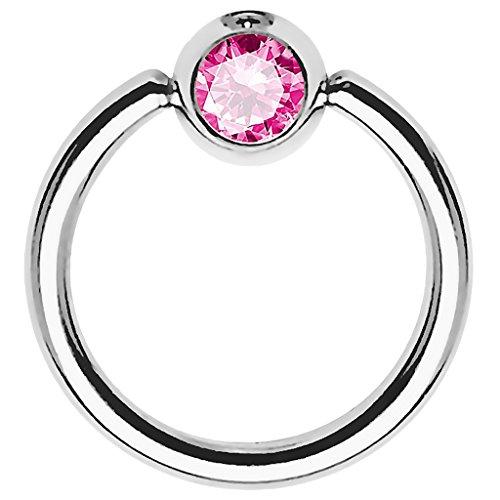 Piersando BCR Piercing Ring Universal Klemmring mit Zirkonia Kristall Klemm Kugel für Septum Brust Tragus Helix Nase Lippe Ohr Intim Nippel...